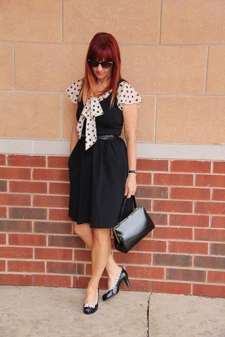 Black dress polk-a-dot blouse vintage purse