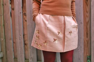 Gold sequin bird skirt anthropologie