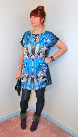 Blue print sheath dress