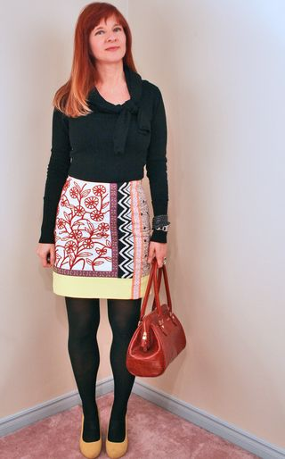 Black sweater yellow red anthro skirt
