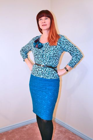 Blue anthropologie lace pencil skirt