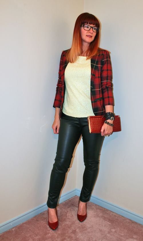 Yellow sequin shirt red plaid topshop blazer