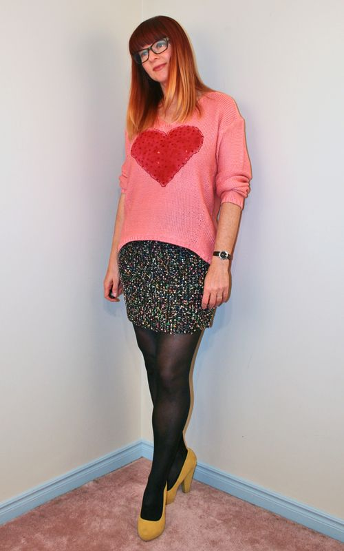 DIY painted heart sweater tweed mini skirt