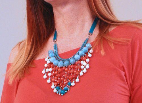 Orange blue hand beaded necklace