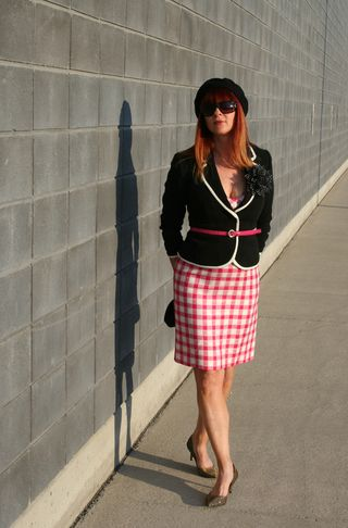 Pink plaid dress black blazer