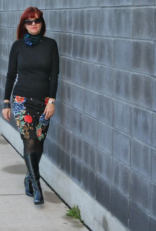 Black sweater floral pencil skirt