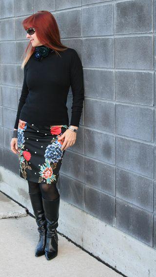 Black turtleneck floral skirt