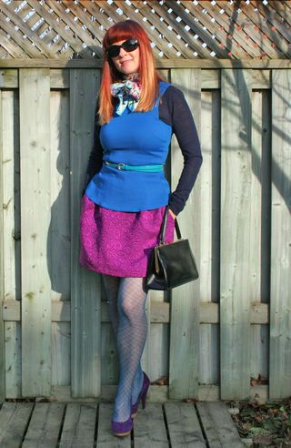 Magenta skirt blue peplum