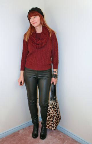 Black leather pants burgundy sweater