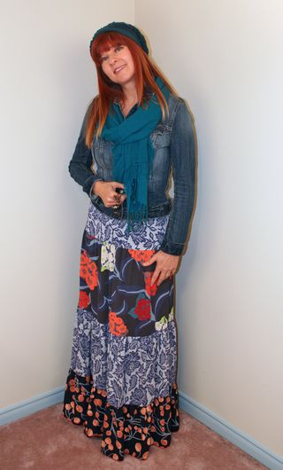 Anthropologie tiered maxi skirt blue and orange