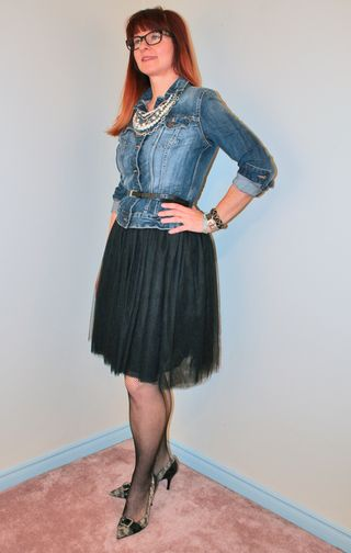 Jean jacket tulle skirt and heels