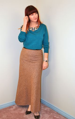 Blue jcrew sweater brown tweed maxi skirt