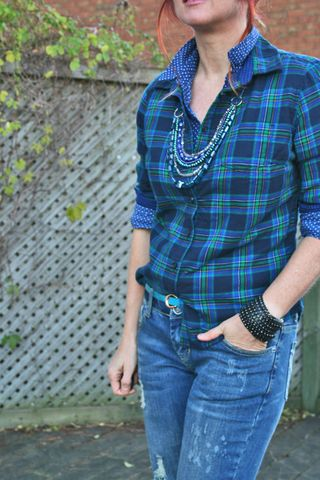 Joe Fresh blue plaid flannel shirt handmade jewel necklace