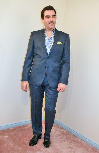 Hugo boss blue pin stripe suit