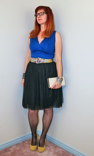 Blue top yellow shoes black tulle skirt