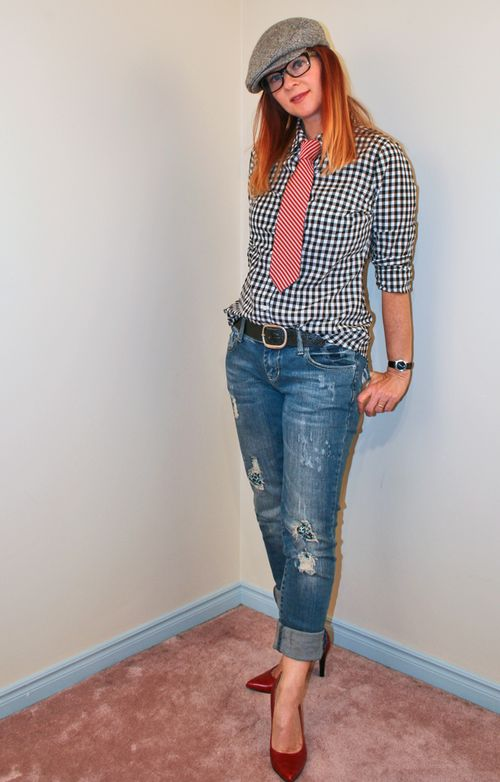 Black and white gingham shirt jeans red heels