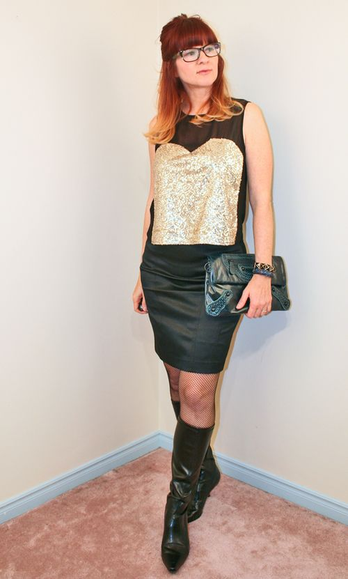 Gold sequin top black skirt