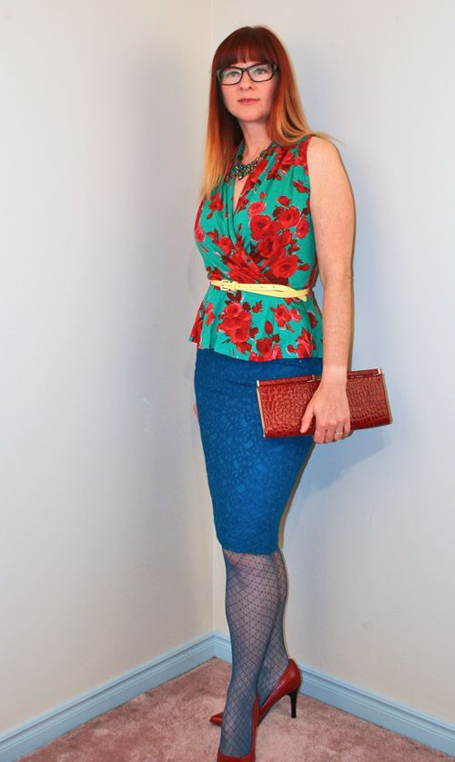 Red and green rose top Anthropologie
