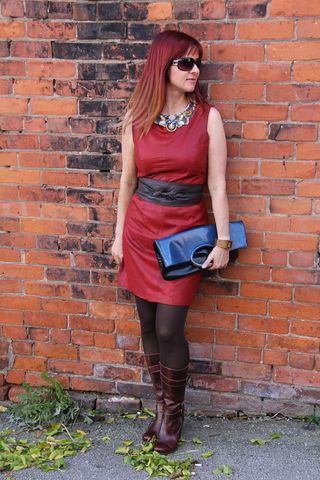 Rust leather dress