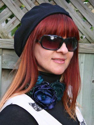 Black beret floral necklace