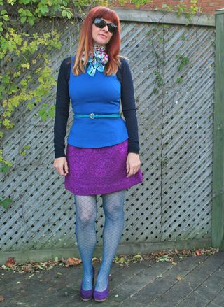Blue patterned tights