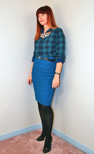 Plaid shirt blue skirt anthropologie