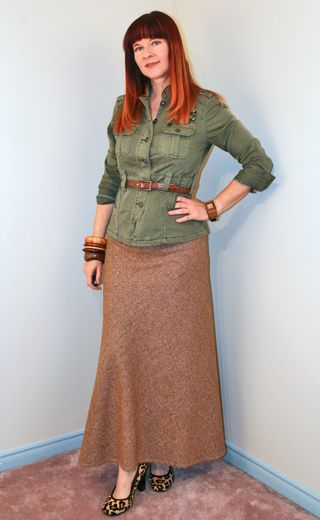 Brown tweed skirt army jacket2