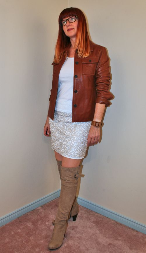 Tall boots sequined skirt