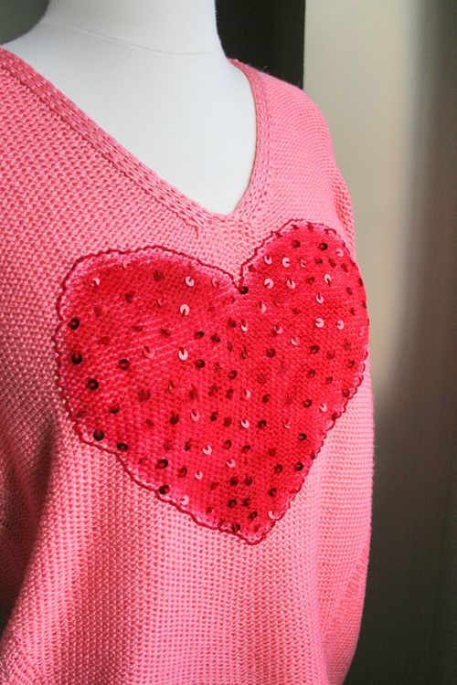 DIY valentine sweater
