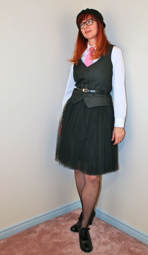 Black tulle skirt pink tie black beret