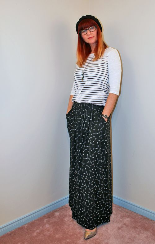 BCBG wide leg pants striped top