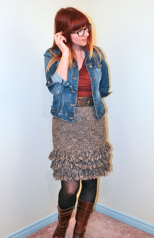 Brown knit skirt anthropologie
