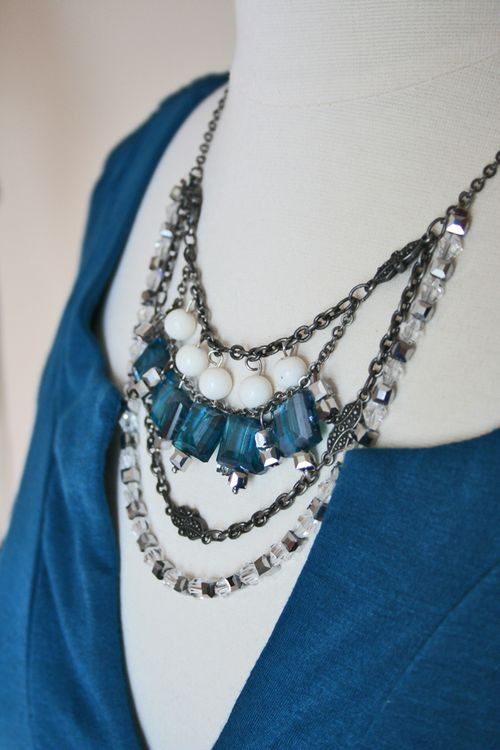 Antique silver blue beaded necklace