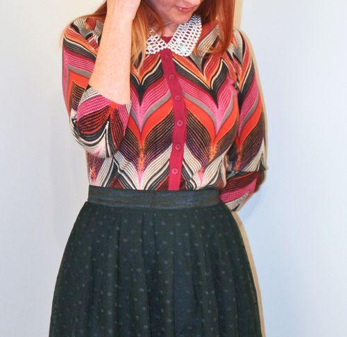 Chevron cardigan Anthropologie black tulle skirt
