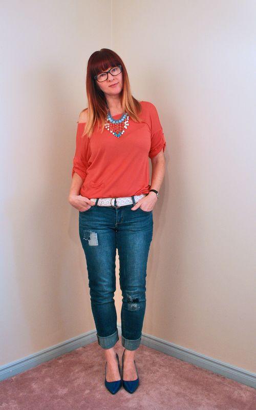 Orange blue beaded necklace