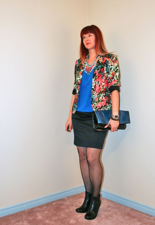 Floral blazer black skirt blue top