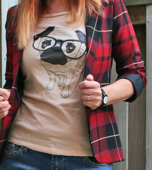 Pug wearing glassed tshirt