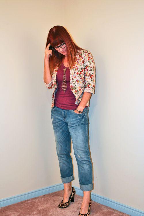Floral forever 21 blazer boyfriend jeans