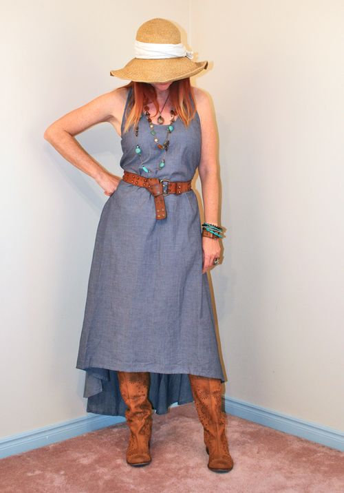Chambray dress high low straw hat boots