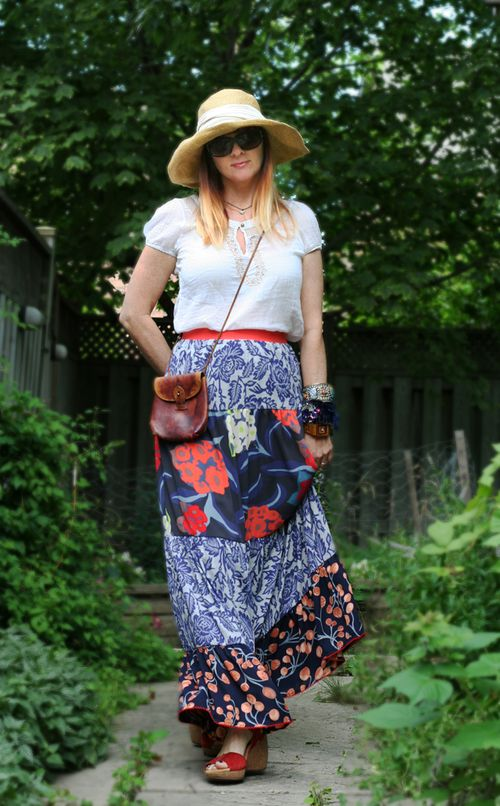 Anthropologie maxi skirt patterned