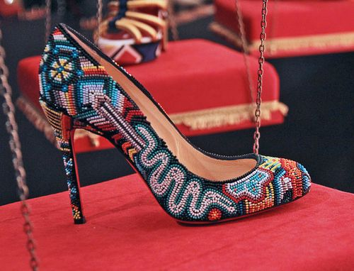 Beaded high heel shoe