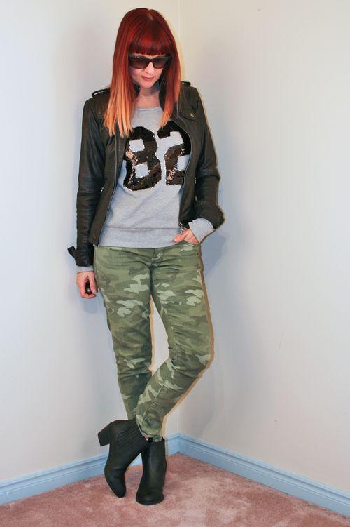 Gap camo pants black leather jacket