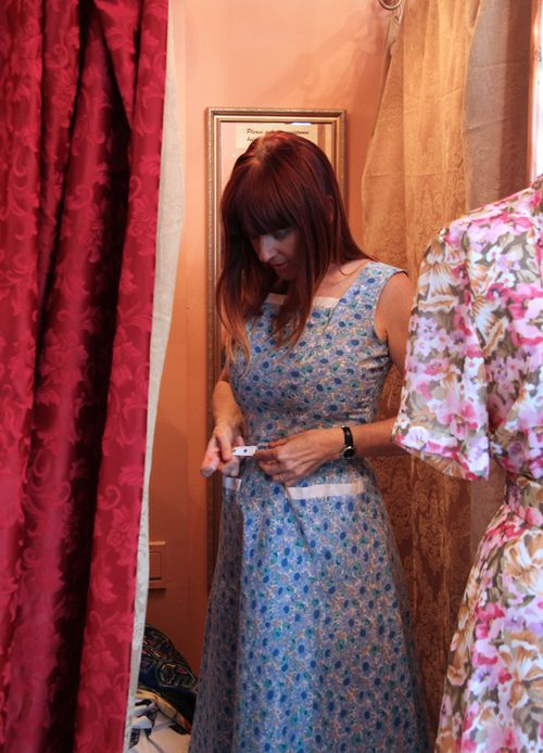 Trying on vintage frock sweet trash