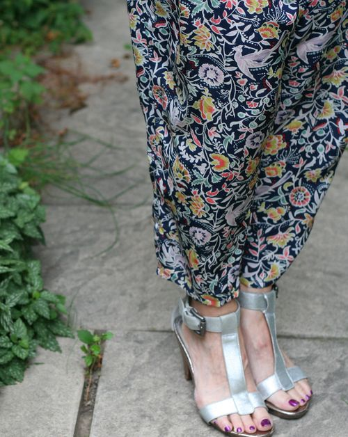 Patterned silk harem pants anthropologie