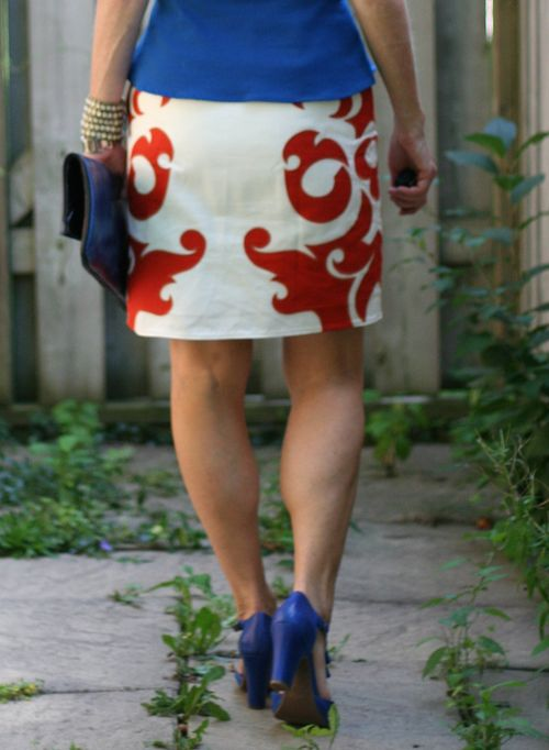 Back of white and orange flame skirt