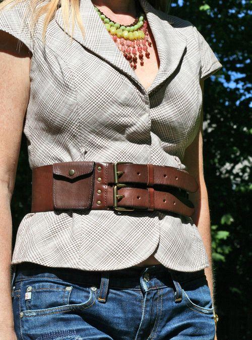 Leather belt handmade casscade necklace