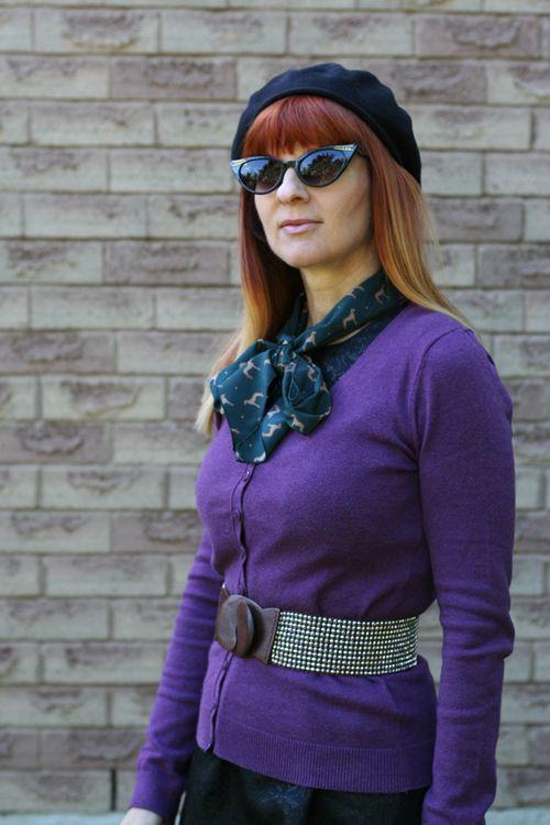 Purple sweater blue Mod Cloth scarf