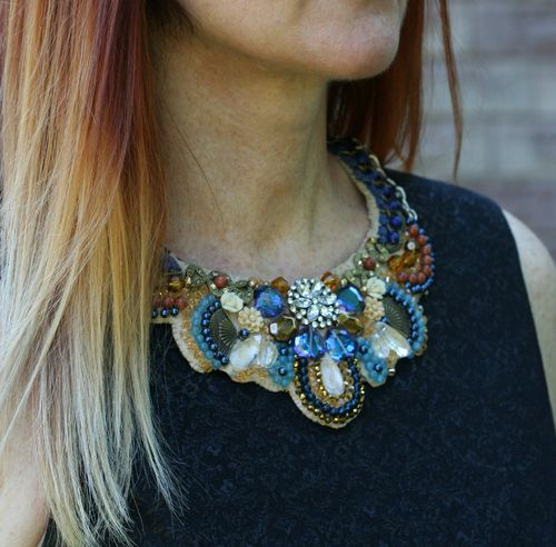 Handmade sparkle bib necklace