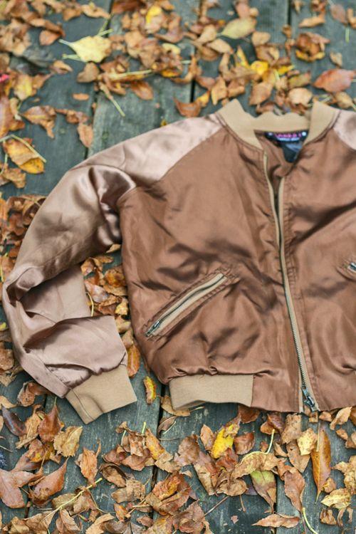 Brown satin bomber jacket