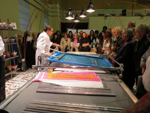 Silk screen printing hermes scarves